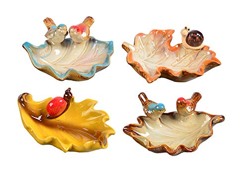 Maruis Blätter Form Keramik Sauce Schalen Aroma Teller Schlüssel Schmuck Aufbewahrung Schalen Basteln Dekorationen (4 Stück) (Blätter Gewürz-farbige)