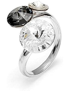 Exklusive Swarovski® Kristalle in Ana Morales Damen-Ring 925 Sterling Silber Grösse verstellbar