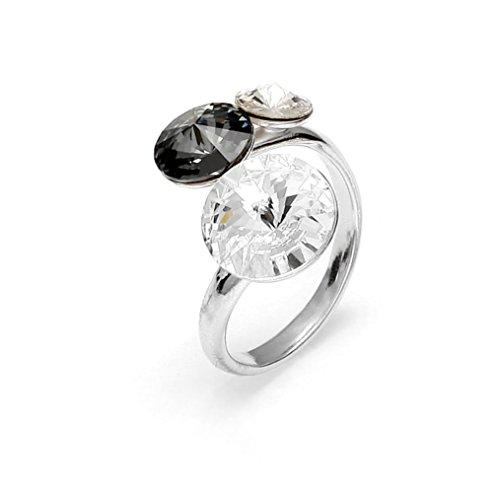 Exklusivos cristales de Swarovski® en Ana Morales señoras anillo de plata de ley tamaño ajustable