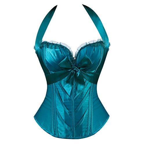 Frauen Burlesque Fashion Satin Halter ohne Knochen trägerlosen Korsett Top Vintage-Mode blau L (Korsett Satin Trägerlosen Sexy)