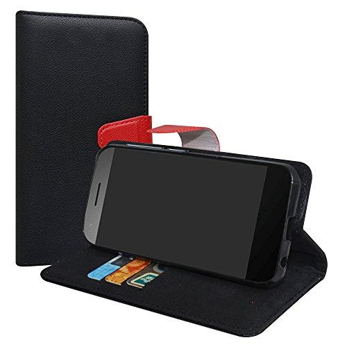 LiuShan Vodafone Smart E8 Hülle, Brieftasche Handyhülle Schutzhülle PU Leder mit Kartenfächer und Standfunktion für Vodafone Smart E8 Smartphone (mit 4in1 Geschenk verpackt),Schwarz