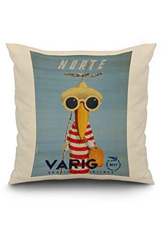 brazil-varig-norte-artist-petit-vintage-advertisement-20x20-spun-polyester-pillow-cover-white-border