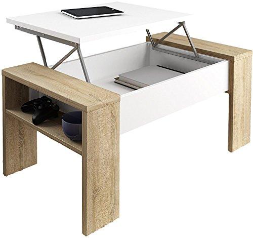 HOGAR24 ES Table Basse relevable, Table Salle à Manger Salon modèle Andrea, Couleur Blanc et Cambrian, Dimensions: Largeur: 98,40cm x Haut: 42,60cm x Carton: 50,20cm