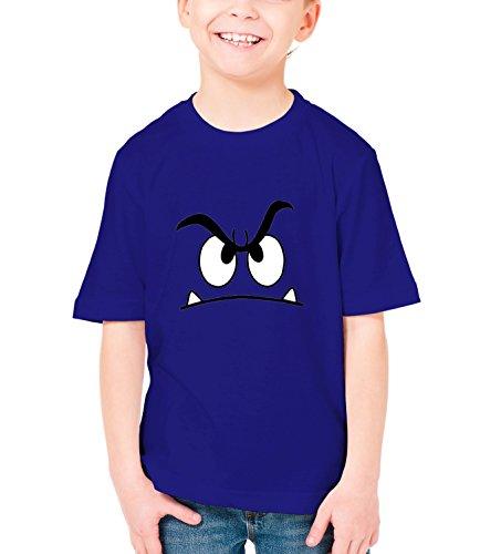 Three Monkeys Angry Face Abstract Art Boys Classic Crew Neck T-Shirt Dark Blue X-Large