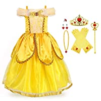 URAQT Ice Queen Princess Deluxe Fancy Costume Snowflakes Train Dress + Accessories Multiple Color