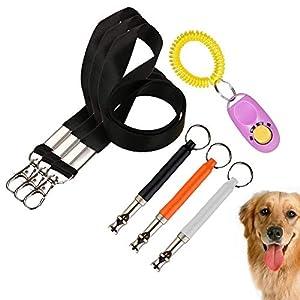 Sifflet réglable silencieux pour chien avec lanière pour dressage de chien, sifflet de dressage de chien + cordon + clicker