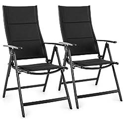Blumfeldt Stylo Royal Black Juego de 2 sillas plegables de jardín (respaldo regulable, resistente al agua, comodo acolchado, aluminio) - negro