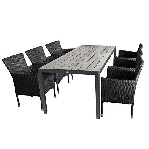 Ensemble de jardin 7 pièces table de jardin en aluminium et polywood plateau de table gris, 205 x 90 x 74 cm + 6 x fauteuil en rotin noir avec coussin