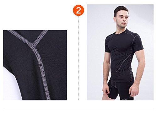 Jiayiqi Männer Nähten Volltonfarbe T Shirt Schnell Trocknen Atmungsaktive Shirts Schwarz
