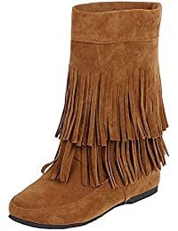 004071ddb kittcatt Mujer cuña Botines con Flecos Wedge Ankle Boots Slip On Cómodo  Guantes