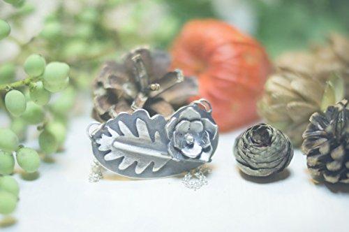 Barcelona Pendelleuchte (Halskette Blatt Eiche und Blume Sterling Silber, Pendelleuchte und einzigartiges Design, Boho Kette, Frau Halskette, Flora Halskette)