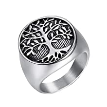 OAKKY Men's Stainless Steel Unique Tree of Life Signet Ring Silver Black Tone Band, Size W