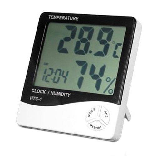Sonline Digital LCD Thermometer und Feuchtemesser Uhr Wecker