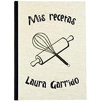 Cuaderno de recetas de cocina en blanco personalizado con tu nombre 15x21 | Libro para escribir tus recetas favoritas A5 | Tapa dura y costura vista | Índice y páginas en español | Artesanal y local
