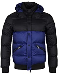 Armani Jeans Blue & Black Hooded Puffer Jacket