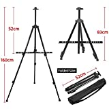Yaheetech Easel Art Stand,52cm-160cm Collapsible Artist Telescopic Field Studio Painting Easel Tripod Display Stand for Artists/Kids Sketching Painting,W/Carrying Bag