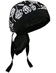 Authentic Premium Headwraps, SKELETON MIDDLE FINGER - High Quality Micro-Fiber & Mesh Lining HEADWRAP