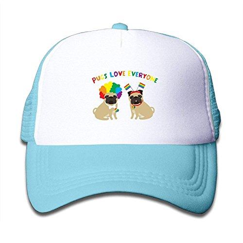 Pugs Love Everyone Gay Pride Kids Mesh Cap Trucker Hats Adjustable