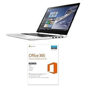 """Lenovo 80VB003UIX YOGA 510-14IKB Portatile Convertibile, Display da 14.0"""" FHD, Processore da 2.5 GHz, RAM 8GB, HDD da 256GB, Bianco + Microsoft Office 365 Personal [1 PC / 1 anno] (Versione 2016)"""