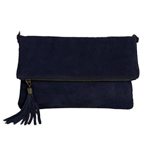 Leder Clutch dunkel blau kleine Ledertasche Wildleder Umhängetasche Abendtasche Partytasche Handtasche Lederhandtasche 24-bue