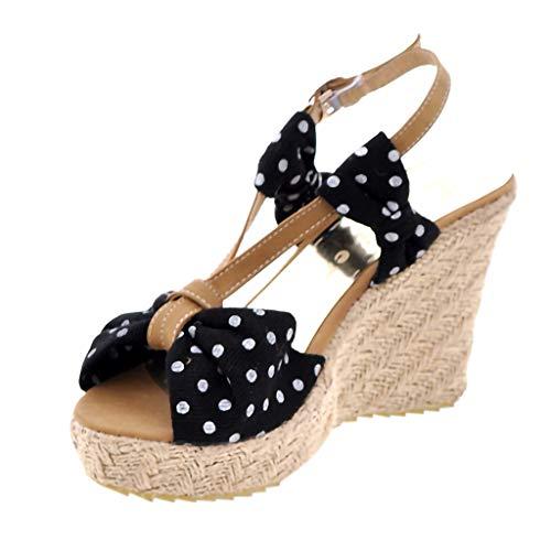 Zapatos Mujer Verano 2019 Sandalias de Cuña con Plataforma | Lunares | Tejer Paja | Tacon Alto 11 cm | Talla 35-43 | Elegante Romanos Estilo | Playa Fiesta Boda