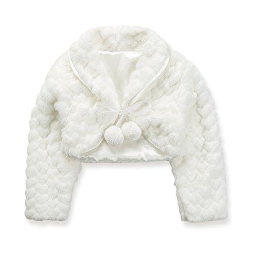 Insun ragazze giacca bolero da bimba per damigella o prima comunione in pelliccia sintetica cappotto avorio 140-150cm
