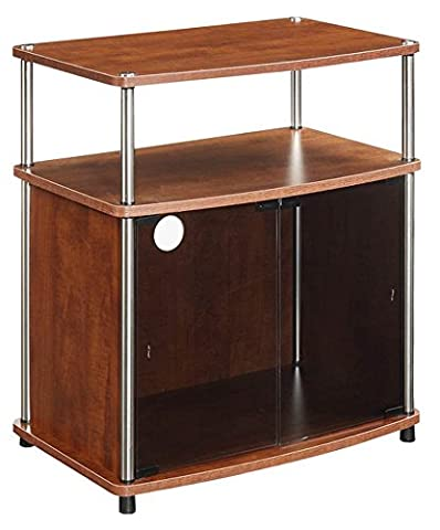 Convenience Concepts TV Stand with Black Glass Cabinet,