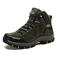 Men Winter Outdoor Hiking Boots Warm High Rise Anti-Slip Climbing Shoes Trekking Shoes Fur Lined Lace-up Walking Boots for All Season Walking, Travelling, Backpacking,Camping, Trekking, Biking
