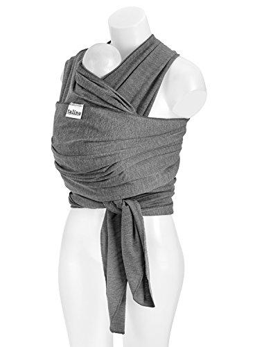 TALINU Baby-Tragetuch, atmungsaktiv und elastisch, 520 cm x 55 cm, für Babies und Kleinkinder zwischen 3,5 kg - 15 kg, in grau – Trage-Hilfe, Bauchtrage, Baby Carrier Sling, Baby Wrap, Kinder-Tragetuch
