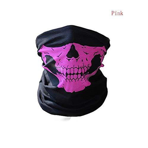 ske Festival Schädel-Masken-Skelett im Freien Motorrad-Fahrrad-Multifunktions Neck Warmer Geist Halbe Gesichtsmaske Schal [Rosa] ()