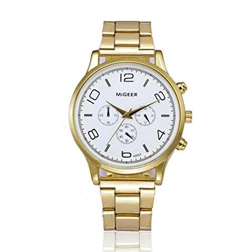 Keepwin Mode Mann Kristall Edelstahl Band Bügel Zufällige Uhr Analoge Quarz Armbanduhr (White)