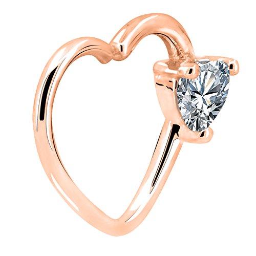 Oufer gioielli del corpo orecchini di cartilagine a forma di cuore left closure daith hoop 16g rings(oro rosa trasparente)