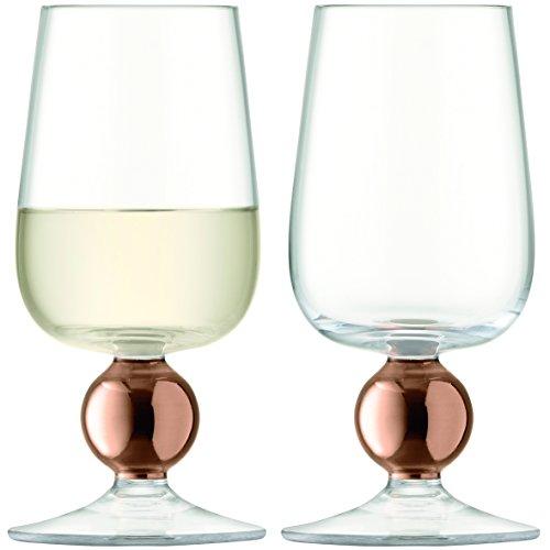 LSA International Oro Weiß Wein Glas, Rose Gold/Transparent, 300ml, 2Stück (Gold Rose Wein Gläser)