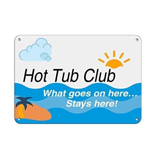 WAS hier geschieht, Whirlpool Club bleibt hier. Pool Funny Yard Deko Schilder für draußen Home Metall Aluminium Schild
