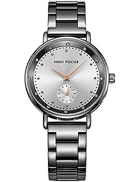 XLORDX Luxus Designer Strass Damenuhr Schwarz Edelstahl Uhr Optik Silber Strassuhr