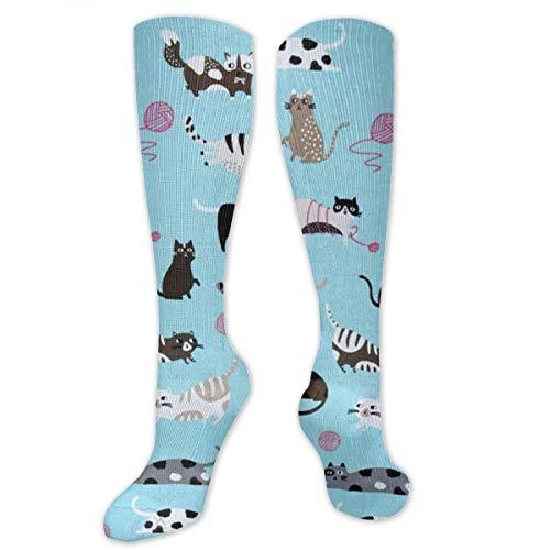 Gped Kniestrümpfe,Socken Christmas Cats with Knits Compression Socks,Knee High Socks,Funny Socks for Women Men - Best Medical,Sports,Running, Nurses,Maternity,Pregnancy,Travel & Flight Socks (Funny Cat Lady Kostüm)