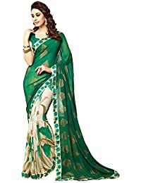 Finix Fashion Women's Georgette & Chiffon Saree With Blouse Piece (Multi-Color)