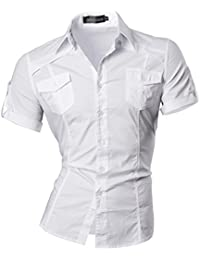 jeansian Homme Chemises Casual Manche Courte Shirt Tops Mode Men Slim Fit 8360