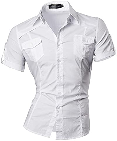 jeansian Herren Freizeit Hemden Shirt Tops Mode Kurzarm Men's Casual Dress Slim Fit 8360_White_XXL (Top Casual Dress)