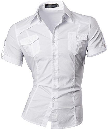 Jeansian uomo camicie manica corta moda men shirts slim fit casual fashion 8360 white xl