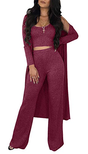 Sexy 2 Piece Outfits for Women Solid Crop Top High Waisted Long Pants Open Front Cardigan Sweater Set High-waisted Crop