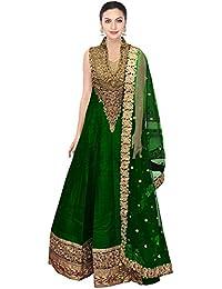 Caffoy Cloth Company Women's Green Color Bangalori Silk Designer Embroidered New Arrive Party Wear Anarkali Salwar...