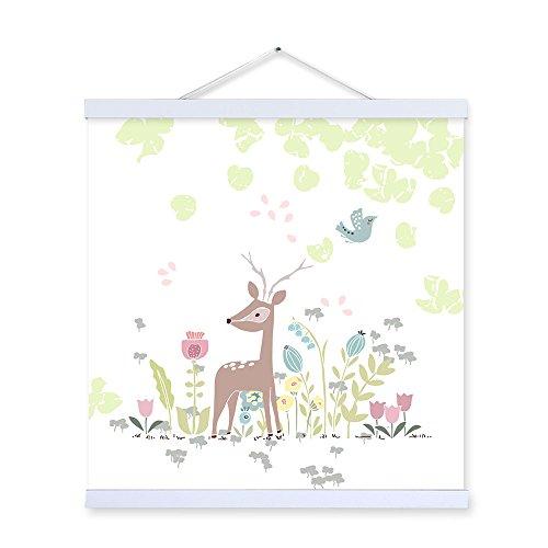 Cartoon Deer in Forest Kleiderbügel aus Holz gerahmt Kunstdruck auf Leinwand fertig zum aufhängen...