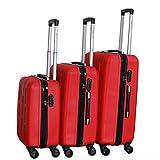 Juego de 3 Maletas ABS Trolley con Ruedas Duplas y Candado (Rojo)