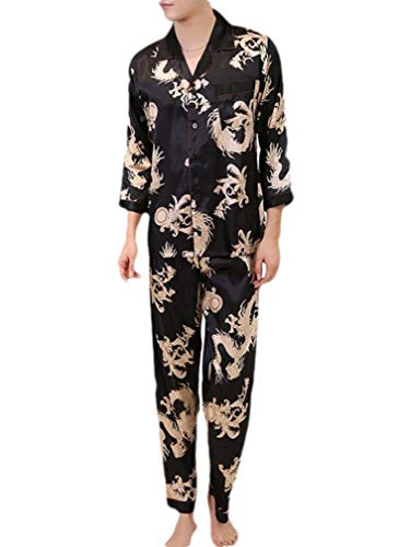 CuteRose Mens Soft Printed Charmeuse Buttoned Long-Sleeve Sleepwear Set Black L Charmeuse-print-shorts