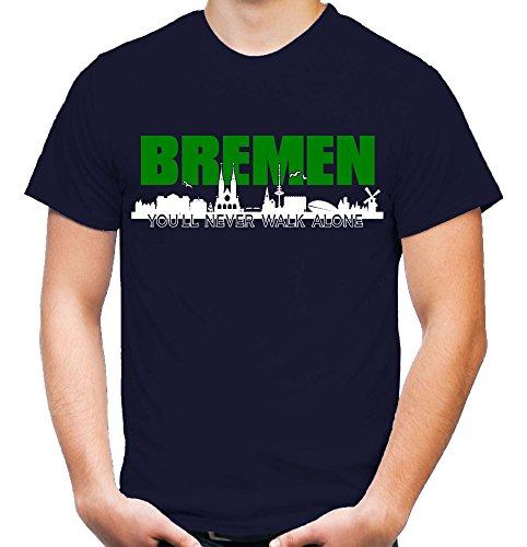 Bremen Skyline Männer und Herren T-Shirt | Fussball Ultras Geschenk Navy