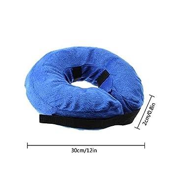 Collier Gonflable de Récupération, KOBWA Confortable Collerette de Protection pour Chien Chats, Ajustable, Lavable, Bleu (M)