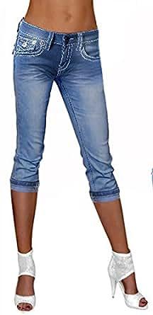 Damen Capri Hose *F1579* weiße Naht Stretch Jeans 3/4 Hose Gr. 34-42 fabulous *blue-used 34