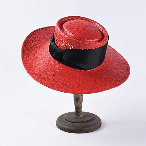 GONGFF Unisex Wide Brim Sommer Hüte Für Frauen Männer In Weiß Rot Schwarz Band Hut Stroh Strand Sonnenhut RedBeach Hüte Wide Brim Floppy Packable Adjustable (Frauen Schwarzen Und Weißen Hut)