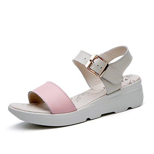 Damen Sandalen Schnalle Leichtgewicht Dicke Sohle Aufzug Anti-Rutsche Einfache Bequeme Freizeit Sommer Schuhe Pink